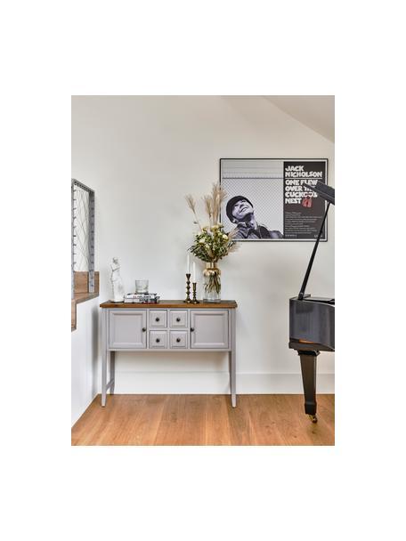 Graues Sideboard Amy im Landhausstil, Korpus: Ulmenholz, lackiert, Platte: Ulmenholz, Griffe und Scharniere: Metall, verzinkt, Hellgrau, 116 x 86 cm