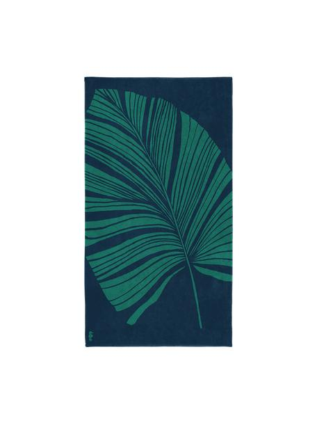 Strandlaken Foil met tropische print, Weeftechniek: fluweel, Blauw, groen, 100 x 180 cm