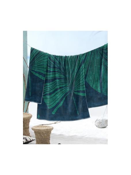 Telo mare con motivo tropicale Foil, Blu, verde, Larg. 100 x Lung. 180 cm