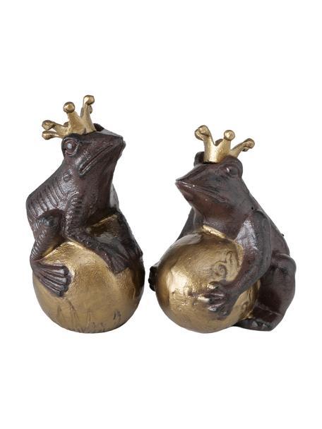 Deko-Objekt-Set Froggy, 2-tlg., Metall, beschichtet, Dunkelbraun, Goldfarben, Set mit verschiedenen Größen