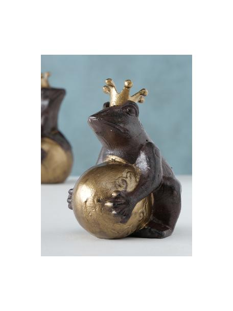 Set de figuras decorativas Froggy, 2uds., Metal recubierto, Marrón oscuro, dorado, Set de diferentes tamaños