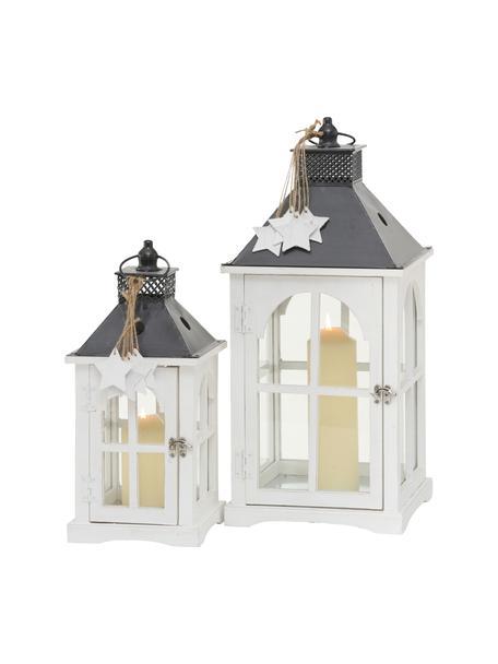 Set 2 lanterne Natale, Cornice: legno rivestito, Bianco, antracite, trasparente, Set in varie misure