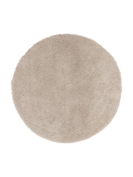 Pluizig rond hoogpolig vloerkleed Leighton in beige, Bovenzijde: 100% polyester (microveze, Onderzijde: 100% polyester, Beige, Ø 120 cm (maat S)