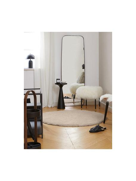 Pluizig rond hoogpolig vloerkleed Leighton in beige, Bovenzijde: 100% polyester (microveze, Onderzijde: 100% polyester, Beige-bruin, Ø 120 cm (maat S)