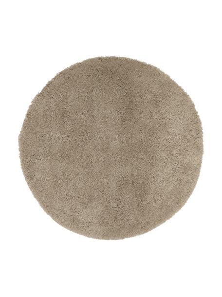Tappeto peloso rotondo beige Leighton, Retro: 100% poliestere, Beige-marrone, Ø 120 cm (taglia S)
