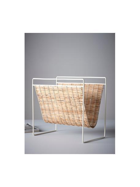 Portariviste Drake, Ripiano: rattan, Struttura: metallo rivestito, Beige, bianco, Larg. 45 x Alt. 41 cm