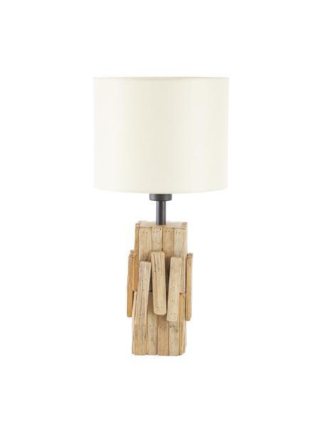 Lampada da tavolo con base in legno Portishead, Paralume: lino, Base della lampada: legno, Marrone, bianco, Ø 26 x Alt. 54 cm