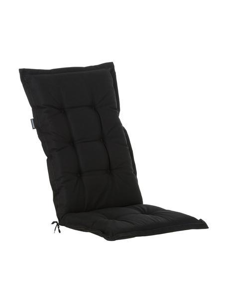 Cuscino sedia nero con schienale lungo Panama, Rivestimento: 50% cotone, 50% poliester, Nero, Larg. 50 x Lung. 123 cm
