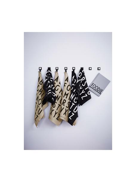 Baumwoll-Geschirrtücher Classic in Beige mit Designletters, 2 Stück, 100% Baumwolle, Beige, schwarz, 40 x 60 cm