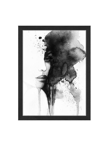 Ingelijste digitale print Woman Face, Afbeelding: digitale print op papier,, Lijst: gelakt hout, Zwart, wit, 33 x 43 cm