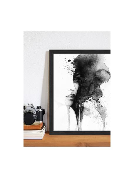 Impresión digital enmarcada Woman Face, Negro, blanco, An 33 x Al 43 cm