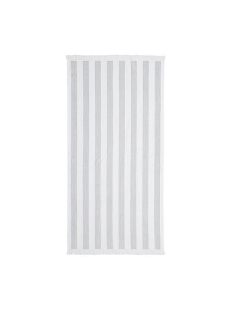 Gestreiftes Strandtuch Mare, 100% Baumwolle leichte Qualität 380 g/m², Grau, Weiss, 80 x 160 cm