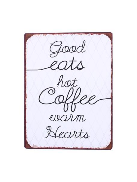 Znak dekoracyjny Good eats, hot coffee, warm hearts, Metal powlekany, Biały, czarny, brązowy, S 27 x W 35 cm