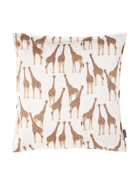 Kissenhülle Safari, 100% Baumwolle, Weiß, Braun, 40 x 40 cm