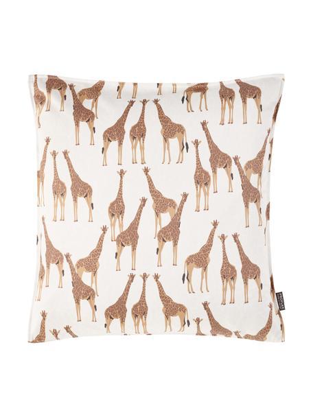 Federa arredo Safari, 100% cotone, Bianco, marrone, Larg. 40 x Lung. 40 cm