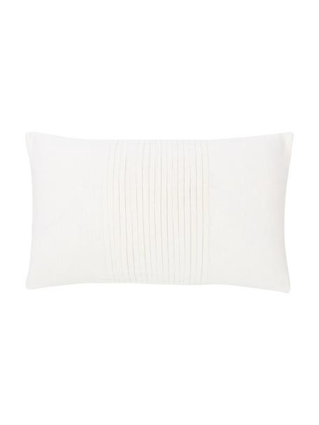 Kussenhoes Dalia wit met structuurpatroon, 55% linnen, 45% katoen, Wit, 30 x 50 cm