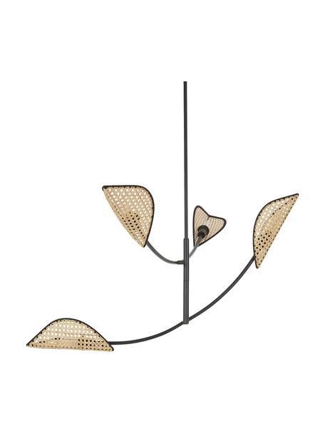 Lampada a sospensione con intreccio viennese Freja, Struttura: metallo verniciato a polv, Baldacchino: metallo verniciato a polv, Nero, Larg. 112 x Alt. 89 cm