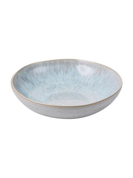 Handbeschilderde serveerschaal Areia met reactief glazuur, Ø 22 cm, Keramiek, Lichtblauw, gebroken wit, lichtbeige, Ø 22 x H 5 cm