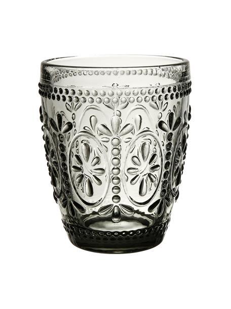 Vasos con relieves Chambord, 6uds., Vidrio, Gris, Ø 8 x Al 10 cm