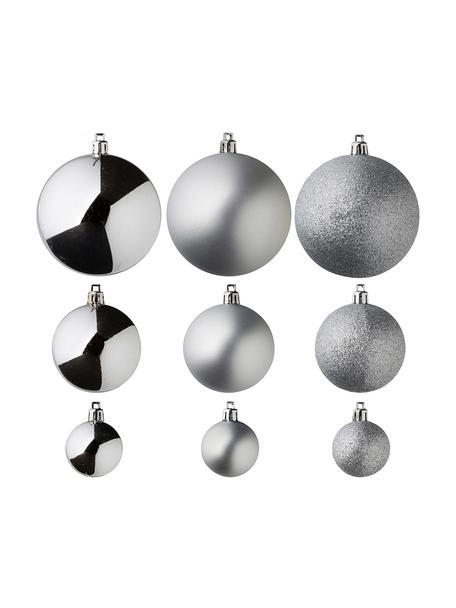 Bruchfestes Weihnachtskugel-Set Natalie, 46-tlg., bruchfester Kunststoff, Silberfarben, Sondergrößen
