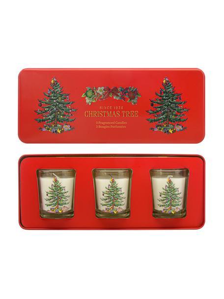 Kaarsen Noel met metaal-doos (dennennaalden, cederhout, appelsien), 3 stuks, Doos: metaal, Houder: glas, Rood, 25 x 6 cm