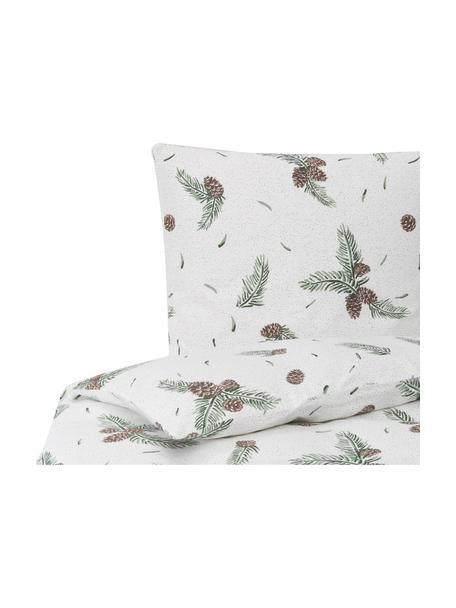 Flanell-Bettwäsche Pinecone mit winterlichem Muster, Webart: Flanell, Weiss, Grün, 135 x 200 cm