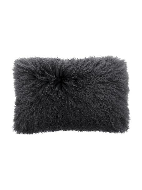 Poszewka na poduszkę ze skóry jagnięcej o długim włosiu Ella, Ciemny szary, S 30 x D 50 cm