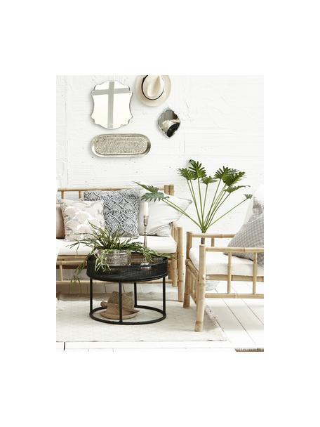 Bambus-Sessel Mandisa mit Sitzpolster, Gestell: Bambus, unbehandelt, Bezug: Segeltuch, Bambus, Weiß, B 70 x T 70 cm