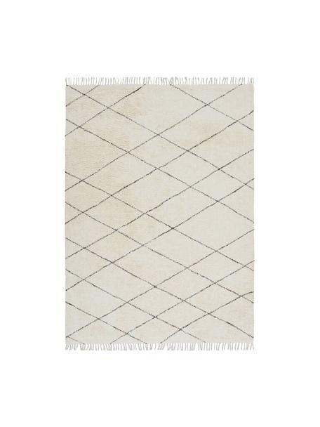 Baumwollteppich Less mit Rauten und Fransenabschluss, 100% Baumwolle, Gebrochenes Weiß, Schwarz, B 160 x L 230 cm (Größe M)