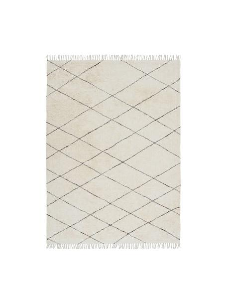 Tappeto in cotone e finitura a frange Less, 100% cotone, Bianco latteo, nero, Larg. 160 x Lung. 230 cm (taglia M)
