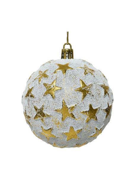 Weihnachtskugeln Fein Ø 8 cm, 4 Stück, Goldfarben, Weiß, Ø 8 cm