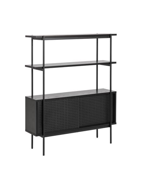 Libreria nera Angus, Struttura: metallo rivestito, Piedini: metallo rivestito, Nero, Larg. 94 x Alt. 114 cm