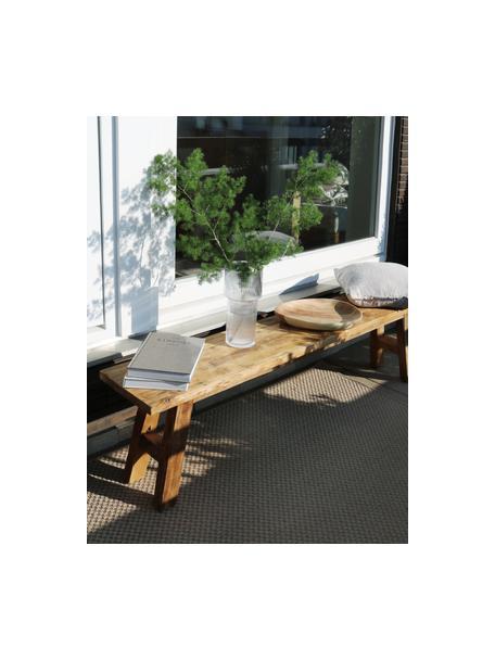 Ławka z drewna tekowego z recyklingu Lawas, Naturalne drewno tekowe, Drewno tekowe, S 180 x H 45 cm