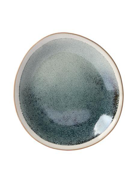 Piattino da dessert fatto a mano 70's 2 pz, Ceramica, Verde, crema, Ø 22 cm