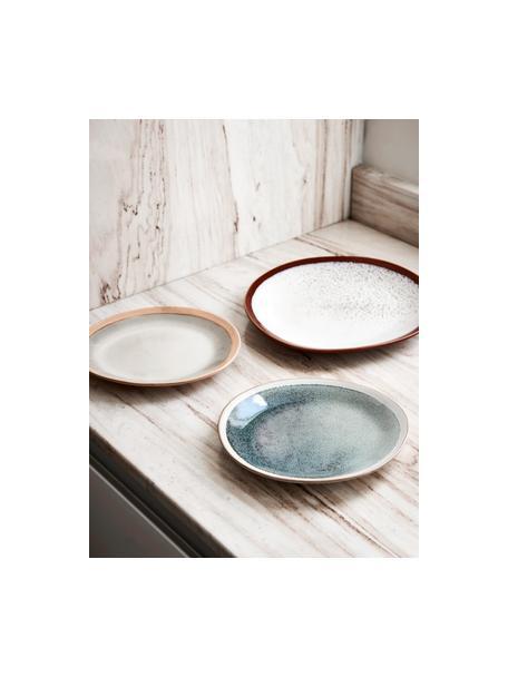 Handgemaakte ontbijtborden 70's in retro stijl, 2 stuks, Keramiek, Groen, crèmekleurig, Ø 22 cm
