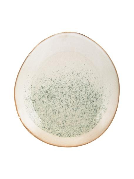 Piattino da dessert stile retrò fatto a mano 70's 2 pz, Gres, Verde, crema, Ø 22 cm