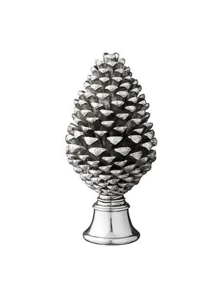 Handgefertigter Deko-Zapfen Pine H 30 cm, Kunststoff, Silberfarben, Ø 15 x H 30 cm