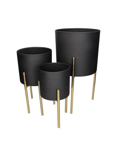 Set de maceteros de metal Blako, 3pzas., Metal recubierto, Negro, dorado, Set de diferentes tamaños