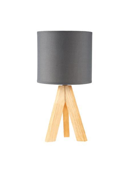 Tripod tafellamp Woody Love met houten voet, Lampenkap: stof, Lampvoet: hout, Donkergrijs, hout, Ø 19 x H 37 cm