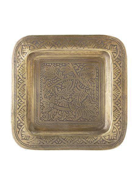 Decoratief dienblad Collo van metaal, L 29 x B 29 cm, Gecoat metaal, Messingkleurig, 29 x 29 cm