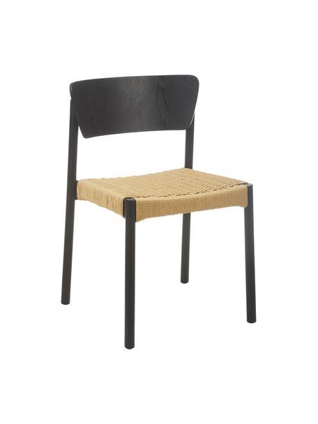 Houten stoelen Danny met rotan zitvlak, 2 stuks, Frame: massief beukenhout, Zitvlak: papier rotan, Zwart, 52 x 51 cm