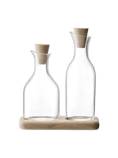Azijn- en oliedispenser Serve van glas en eikenhout, 3-delig, Onderbord: eikenhout, Dispender: transparant. Onderbord: eikenhout. Stop: eikenhout, Set met verschillende formaten