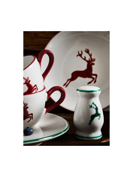 Handbemalter Pfefferstreuer Gourmet Grüner Hirsch, Keramik, Grün,Weiß, 4 x 6 cm