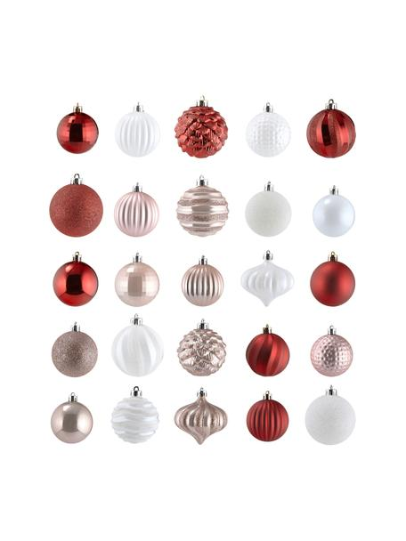 Bruchfestes Weihnachtskugel-Set Nip Ø 7 cm, 60-tlg., Rosa, Rot, Weiß, Ø 7 cm