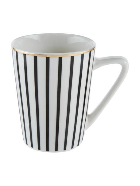 Tazza da tè a righe con bordo dorato Pluto Loft 4 pz, Porcellana, Nero, bianco, dorato, Ø 8 x Alt. 10 cm