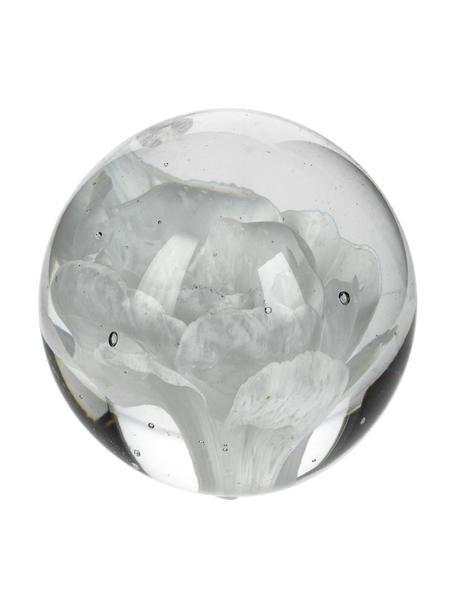 Briefbeschwerer Flower, Glas, Weiss, Ø 7 x H 7 cm