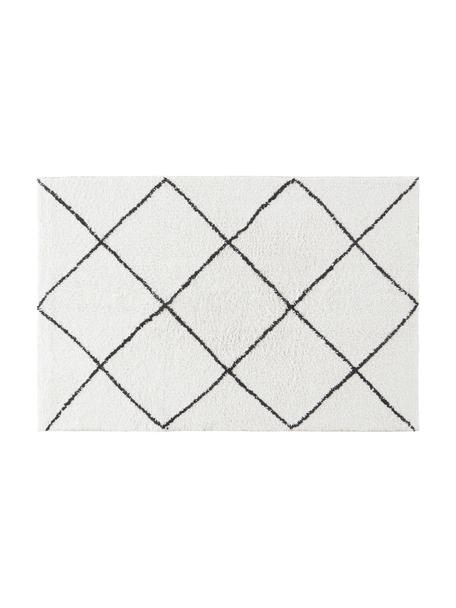 Alfombrilla de baño Lovi, estilo boho, 100%algodón, Blanco natural, negro, An 80 x L 120 cm