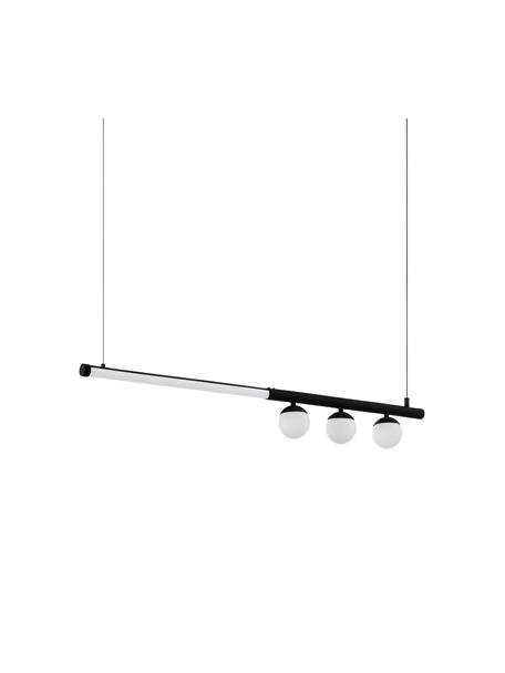 Grote LED hanglamp Phianeros, Lampenkap: kunststof, Baldakijn: gecoat metaal, Wit, zwart, 100 x 120 cm