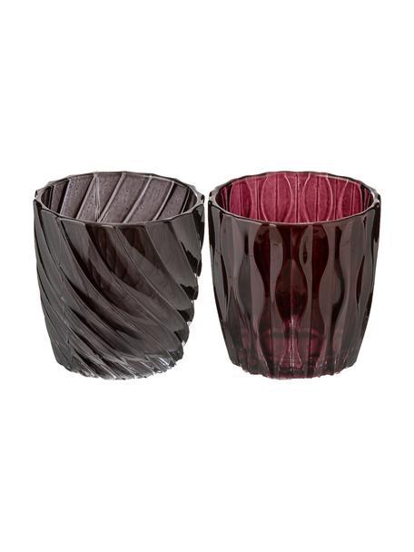 Waxinelichthoudersset Jasmina, 2-delig, Gelakt glas, Rood, bruin, Ø 7 x H 7 cm