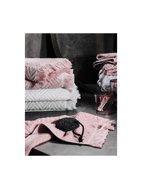Handdoek Jacqui in verschillende formaten, met hoog-laag patroon, 100% katoen, middelzware kwaliteit, 490 g/m², Lichtgrijs, Gastendoekje
